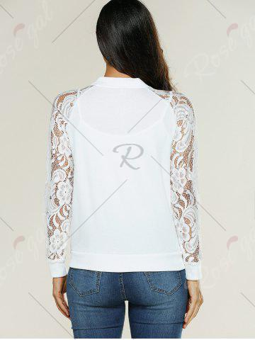 Hot Lace Insert Bomber Zip Up Jacket - XL WHITE Mobile