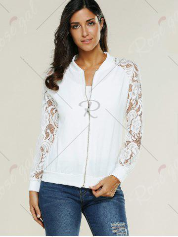 New Lace Insert Bomber Zip Up Jacket - XL WHITE Mobile