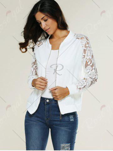Store Lace Insert Bomber Zip Up Jacket - XL WHITE Mobile