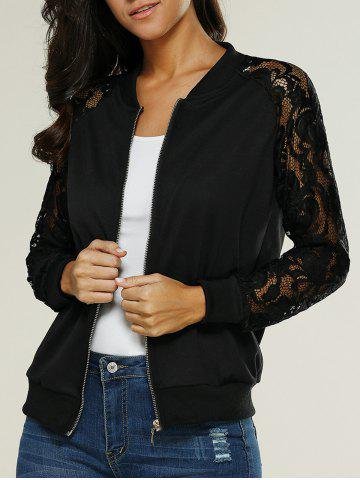 Lace Insert Bomber Zip Up Jacket - Black - Xl