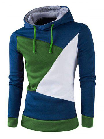 IZZUMI Stylish Color Block Spliced Slim Fit Long Sleeve Hoodies For Men - BLUE - M