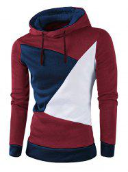 IZZUMI Stylish Color Block Spliced Slim Fit Long Sleeve Hoodies For Men - WINE RED M