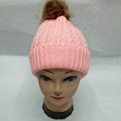 Faux Fur Bobble Cable Knit Hat