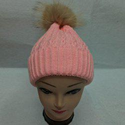 Casual Cable Knit Faux Fur Bobble Hat