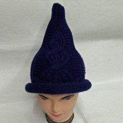 Crochet Cable Knit Small Pointed Hat - PURPLISH BLUE