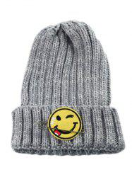 Winter Smile Face Safety Pin Knitted Hat - GRAY