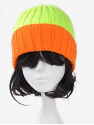 Character Fluorescence Color Block Knitted Hat -
