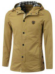 Badge Embellished Zip-Up Hooded Coat -