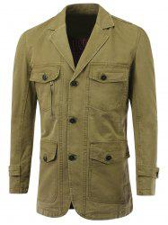 Multi-Pocket Design Single-Breasted Turn-Down Collar Jacket