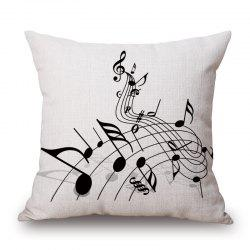 Casual Music Score Note Pattern Square Shape Pillowcase - OFF-WHITE