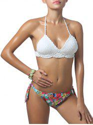 Halterneck Flower Scalloped Crochet Bikini