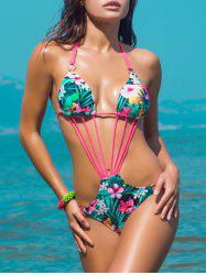 Halterneck Strappy Tropical Monokini - GREEN L