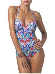 Halterneck Printed Longline One Piece Swimwear