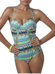 Printed Longline Cutout One Piece Swimwear