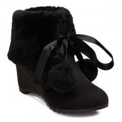 Pompon Tie Up Hidden Wedge Ankle Boots -