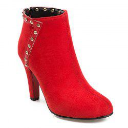 Cone Heel Rivets Ankle Boots