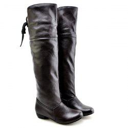 Tie Up Flat Heel PU Leather Knee High Boots - BLACK