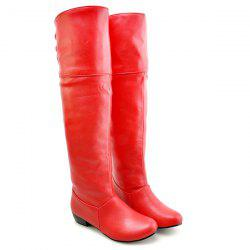 Tie Up Flat Heel PU Leather Knee High Boots - RED