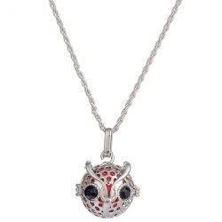 Rhinestone Owl Locket Pregnant Bead Necklace