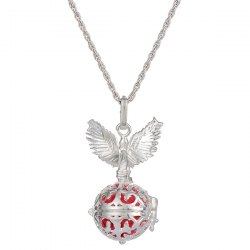 Guardian Angel Wings Pregnant Bead Locket Necklace -