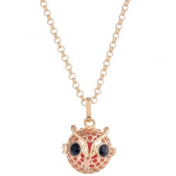 Owl Locket Pregnant Bead Rhinestone Necklace