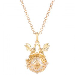 Peace Doves Guardian Pregnant Bead Locket Necklace -