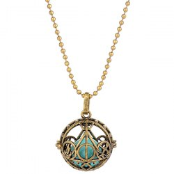 Pregnant Bead Geometric Locket Necklace