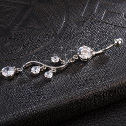 Rhinestone Navel Button - WHITE