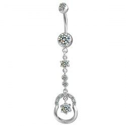 Rhinestone Layered Belly Button Jewelry - SILVER