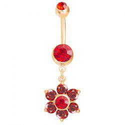 Layered Rhinestone Flower Navel Button - RED