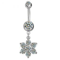 Layered Rhinestone Flower Navel Button - SILVER