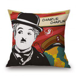Classic Pop Art Charlie Chaplin Photo Letter Pattern Pillowcase - DEEP RED