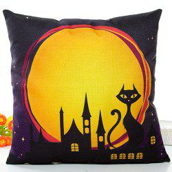 Halloween Night Cat Printed Pillow Case -