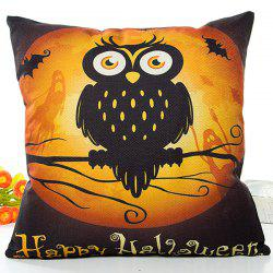 Happy Halloween Owl Printed Pillow Case -