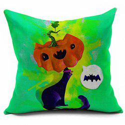 Halloween Cartoon Fox Pumpkin Printed Sofa Cushion Pillow Case -