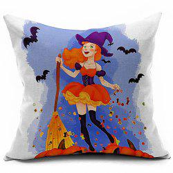 Halloween Cartoon Girl Printed Sofa Cushion Pillow Case - COLORMIX