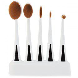 5 Pcs Facial Oval Toothbrush Makeup Brushes Set with Holder -