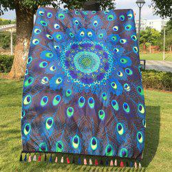 Hot Peacock Feather Printed Mandala Beach Scarf - LAKE BLUE