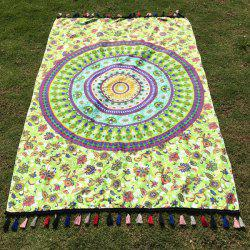 Hot Tassel Flower Printed Rectangle Mandala Beach Scarf - LIGHT GREEN
