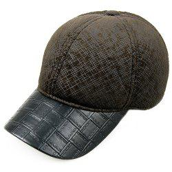 Outdoor Scrawl Pattern PU Rectangle Plaid Brim Baseball Hat -