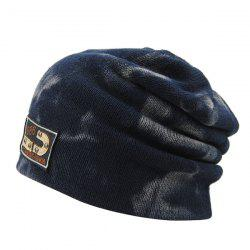 Warm Spotted Pattern Double-Deck Knit Ski Hat - BLUE