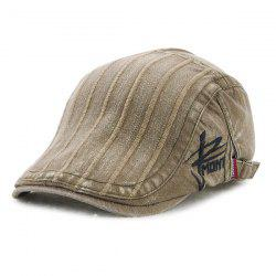 Fall Vertical Stripe and Letter Embroidery Cabbie Hat - LIGHT KHAKI