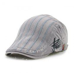 Fall Vertical Stripe and Letter Embroidery Cabbie Hat - GRAY