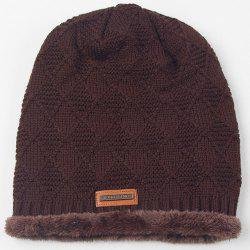 Warm Rhombus Crochet Thicken Double-Deck Knit Ski Hat