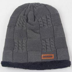 Warm Stripy Hemp Flowers Thicken Double-Deck Knit Ski Hat - GRAY