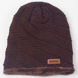Warm Twill Stripy Thicken Double-Deck Knit Ski Hat