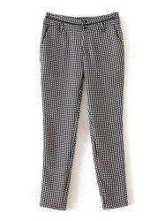 Plaid Printed Back Pocket Pants - BLACK