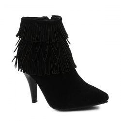 Stiletto Heel Fringe Zipper Boots