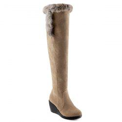 Zipper Faux Fur Platform Thigh Boots