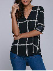 V Neck High Low Hem Plaid Blouse - CHECKED